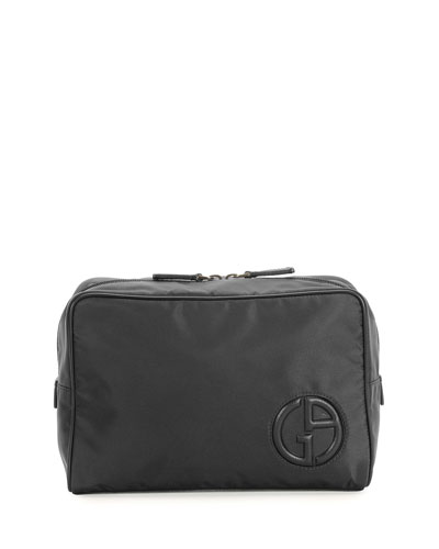 Beauty Case in Nylon and Leather, Black