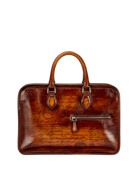 Berluti Scritto Mini Leather Briefcase, Brown