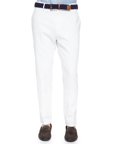 Raleigh Flat-Front Twill Pants, White