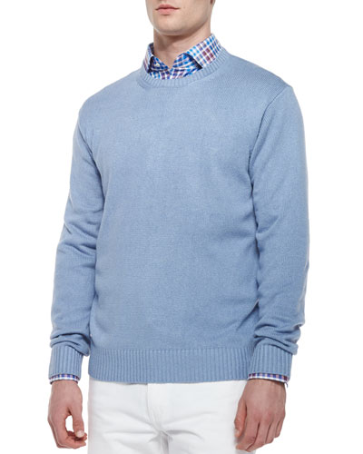 Cable-Knit Crewneck Sweater, Blue