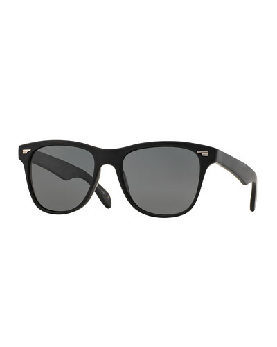 Lou 54 Polarized Square Plastic Sunglasses, Black