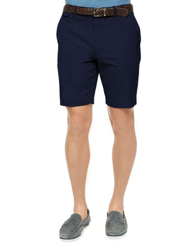 Solid Stretch-Cotton Slim Shorts, Navy