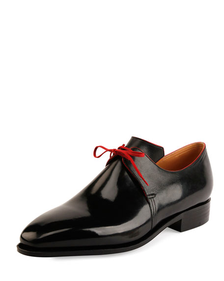 Corthay Arca Calf Leather Lace-Up Shoe, Black