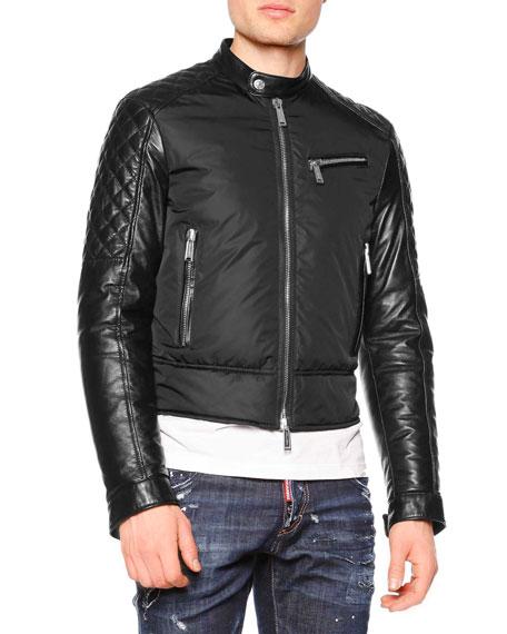 Dsquared2 Mixed-Media Moto Jacket, Black