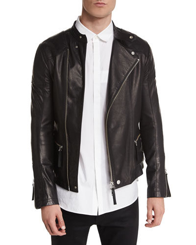 Basic Rider Leather Moto Jacket, Black