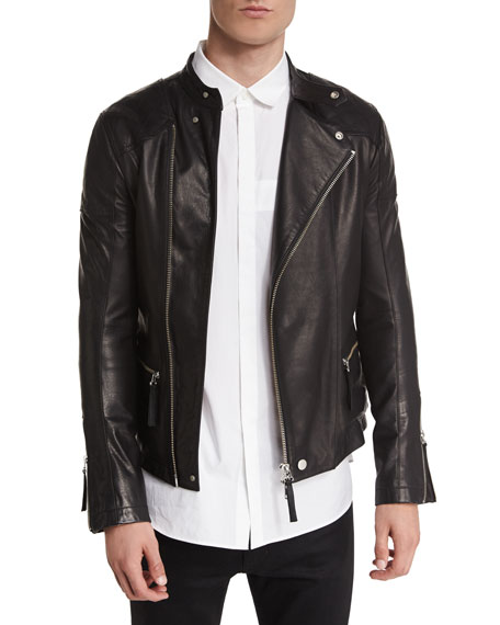 Helmut Lang Basic Rider Leather Moto Jacket, Black