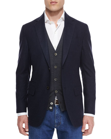 Ermenegildo Zegna Gingham Two-Button Silk Sport Coat, Navy