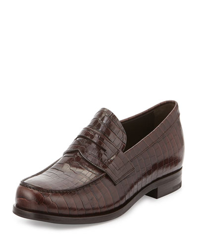 Faux-Croc Penny Loafer, Brown
