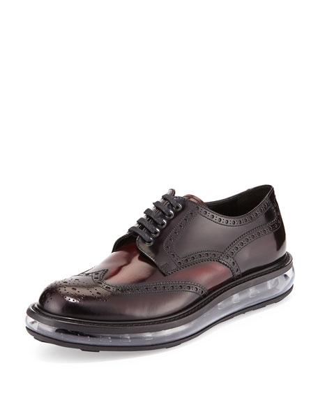 Prada Levitate Leather Wing-Tip Derby Shoe, Dark Red
