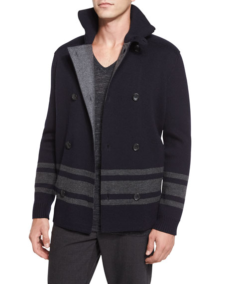 Vince Striped Double-Breasted Peacoat, Navy