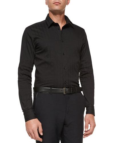 Tonal-Stripe Woven Sport Shirt, Black