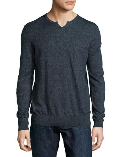 Udrano Melange V-Neck Sweater, Navy