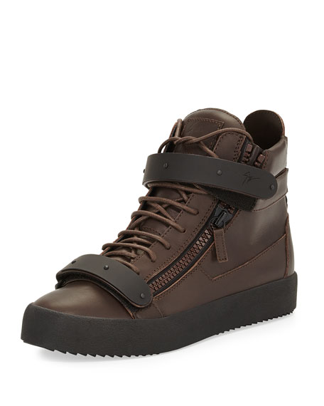 Giuseppe ZanottiMen's Double-Strap High-Top Sneaker, Brown/Black