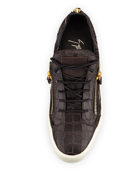 Men's Croc-Embossed Low-Top Sneaker, Chocolate