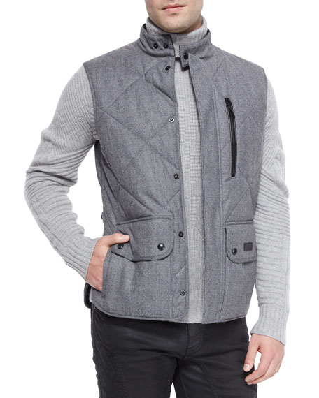 Belstaff Littlehurst Textured Knit Sweater & Quilted Flannel