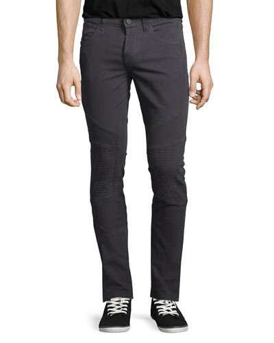 Bearden Stretch Moto Jeans, Light Gray