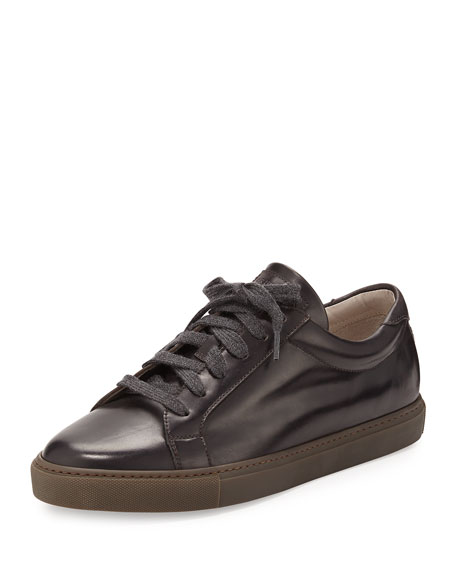 Men's Leather Lace-Up Sneakers, Brown