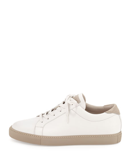 Men's Leather Lace-Up Sneakers, White