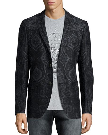 Etro Paisley-Print Two-Button Jacket, Dark Gray