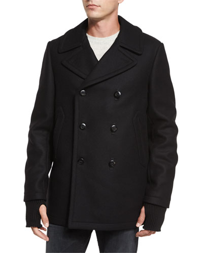 Reefing Double-Breasted Wool Peacoat, Black