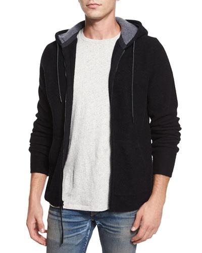 Dax Full-Zip Wool Hoodie, Black