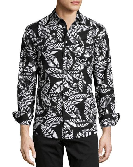 Rag & Bone Leaf-Print Long-Sleeve Woven Shirt, Black