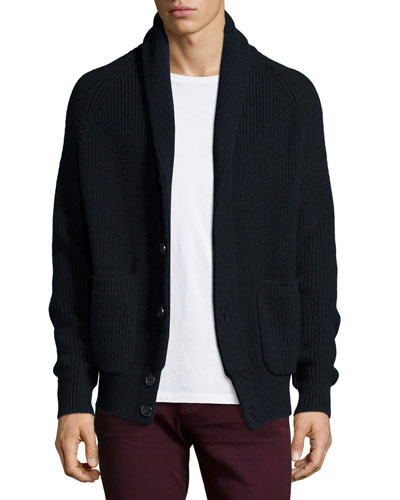 Shawl-Collar Knit Cardigan, Navy