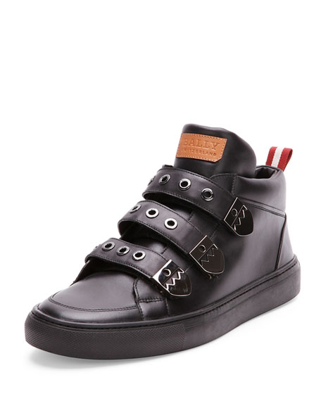 Bally Three-Strap High-Top Sneaker, Black