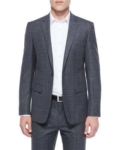 Wellar Windowpane Wool Sport Coat, Charcoal