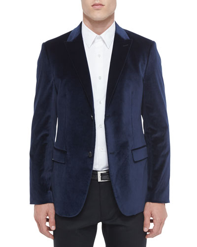 Rylan Velvet Two-Button Sport Coat, Blue