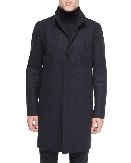 Theory Belvin Wool-Blend Car Coat, Charcoal