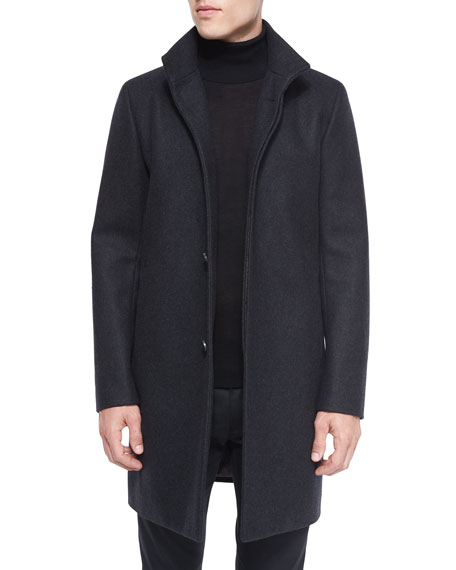 Theory Belvin Wool-Blend Car Coat, Charcoal