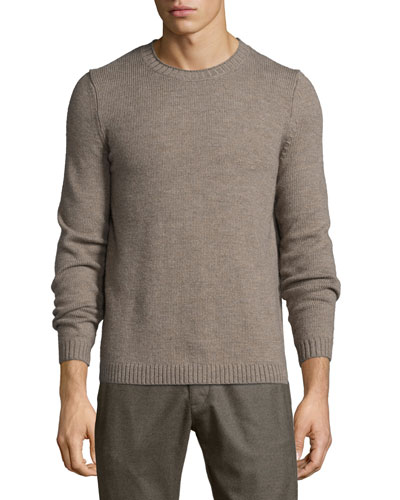 Vernon Crewneck Wool Sweater, Light Brown