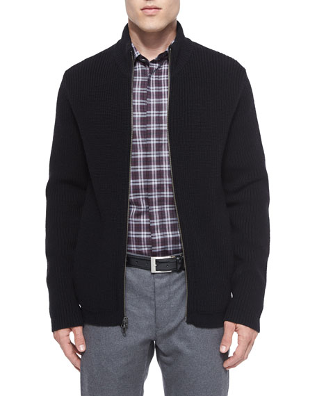 Theory Lacham Ribbed Zip-Up Sweater, Black