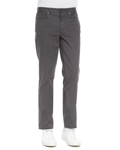 Five-Pocket Slim-Fit Twill Pants, Gray