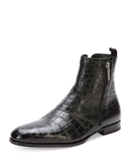 Stefano Ricci Crocodile Chelsea Boot, Black
