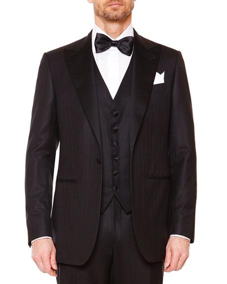 Stefano Ricci Peak-Lapel Wool Tuxedo, Six-Button Waistcoat, Solid