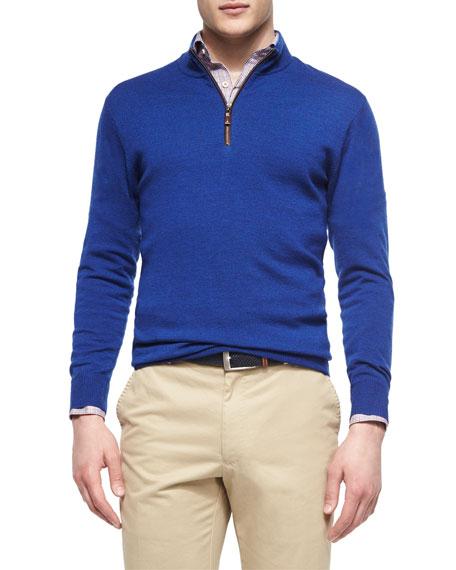 Peter Millar Leather-Trimmed Quarter-Zip Pullover, Blue