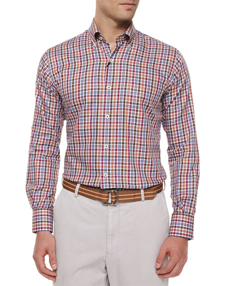 Peter Millar Madrona Plaid Woven Sport Shirt, Brown