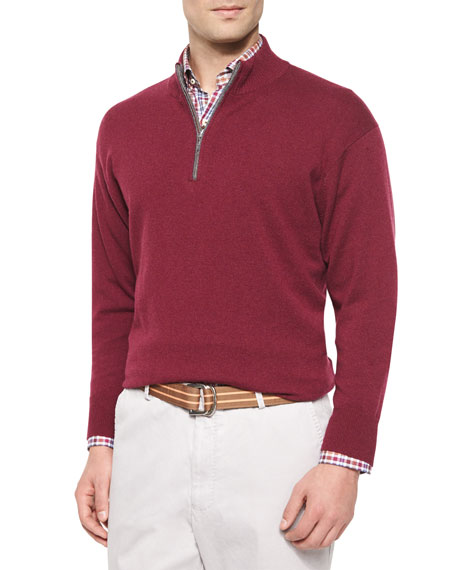 Peter Millar Cashmere Quarter-Zip Pullover Sweater, Red