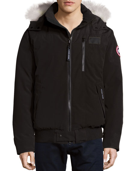 Canada GooseBorden Bomber Jacket with Fur-Lined Hood, Black
