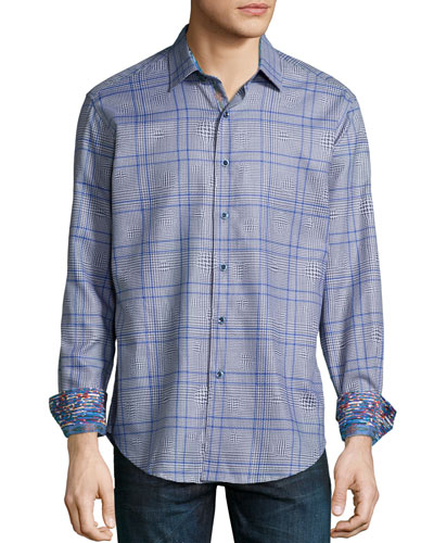 London Eye Multi-Check Sport Shirt, Blue
