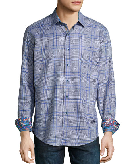 Robert Graham London Eye Multi-Check Sport Shirt, Blue