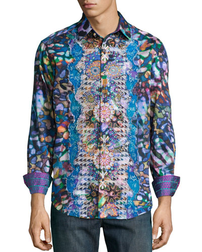 Embroidered Multi-Print Sport Shirt, Multicolor