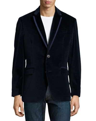Arran Velvet Evening Jacket, Dark Navy