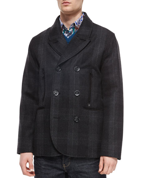 Robert Graham Plaid Double-Breasted Coat, Charcoal