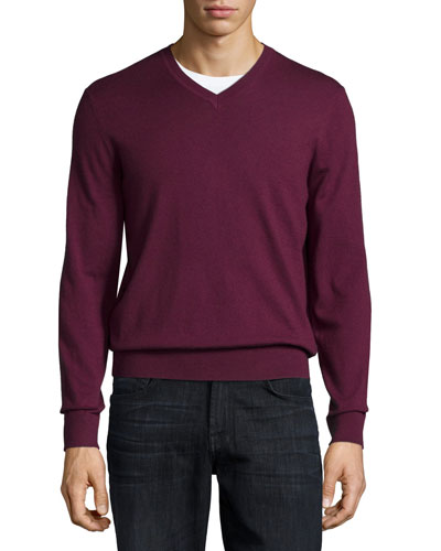 Cashmere V-Neck Sweater, Dark Red