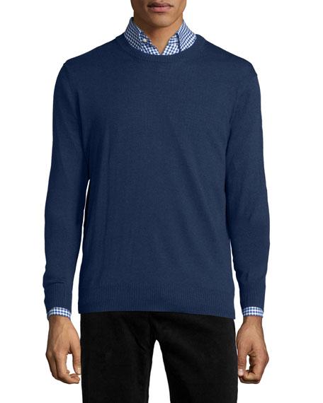 Neiman Marcus Cotton-Blend Crewneck Sweater, Navy