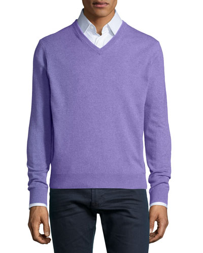 Cashmere V-Neck Sweater, Light Purple
