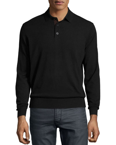 Suede-Placket Cashmere Polo, Black